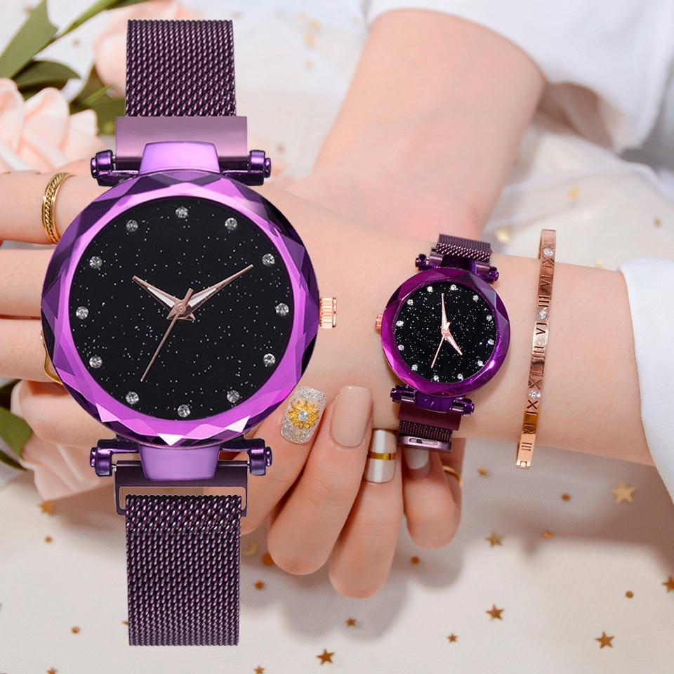 Luxus Frauen Uhren Mesh Damen Uhr Magnet Schnalle Starry Diamant Geometrische Oberfläche Casual Kleid Quarz Armbanduhr
