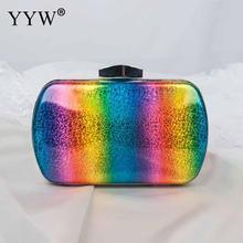 2018 Fashion Rainbow Doos Avondtasje Vrouwen Designer Elegante Tas Party Wedding Clutch Purse Vrouwelijke Mini Gelei Keten Schoudertas