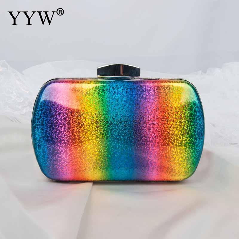 Fashion Rainbow Box Evening Bag Women Designer Elegant Bag Party Wedding Clutch Purse Female handbag Jelly Chain Shoulder Bags