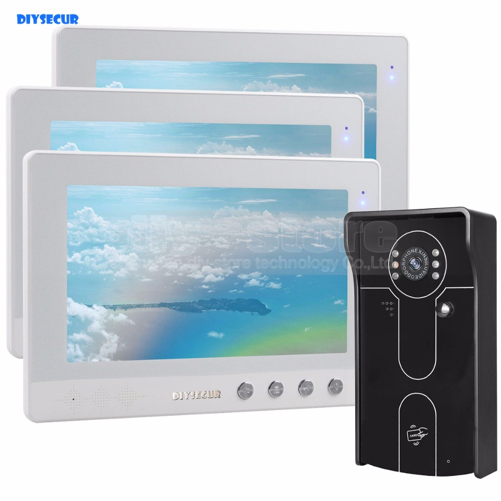 DIYSECUR 10 inch Wired Video Door Phone Doorbell Home Security Intercom System RFID Camera IR Night Vision 1 Camera 3 Monitors jeruan home wired cheap 4 3 inch lcd color video door phone doorbell intercom system ir night vision camera free shipping