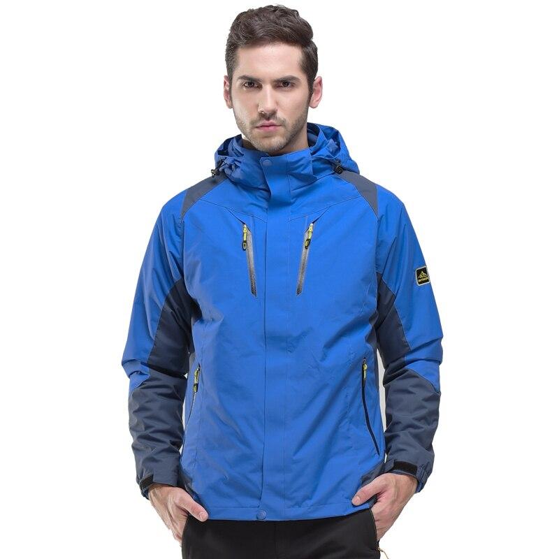 ФОТО 2017 Mens Hiking Jackets Fleece Windproof Outwear Jackets For Outdoor Waterproof Jackets Blue Yellow Free Shipping 16628
