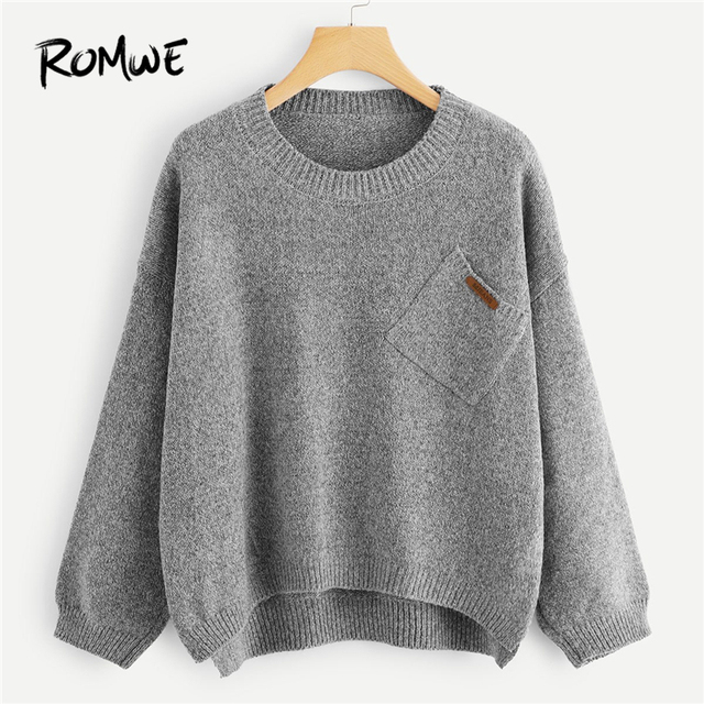 9f424550a7cae ROMWE Grey Pocket Decoration Asymmetrical Sweater Women Casual Autumn  Winter Plain Long Sleeve Clothing Female Spring