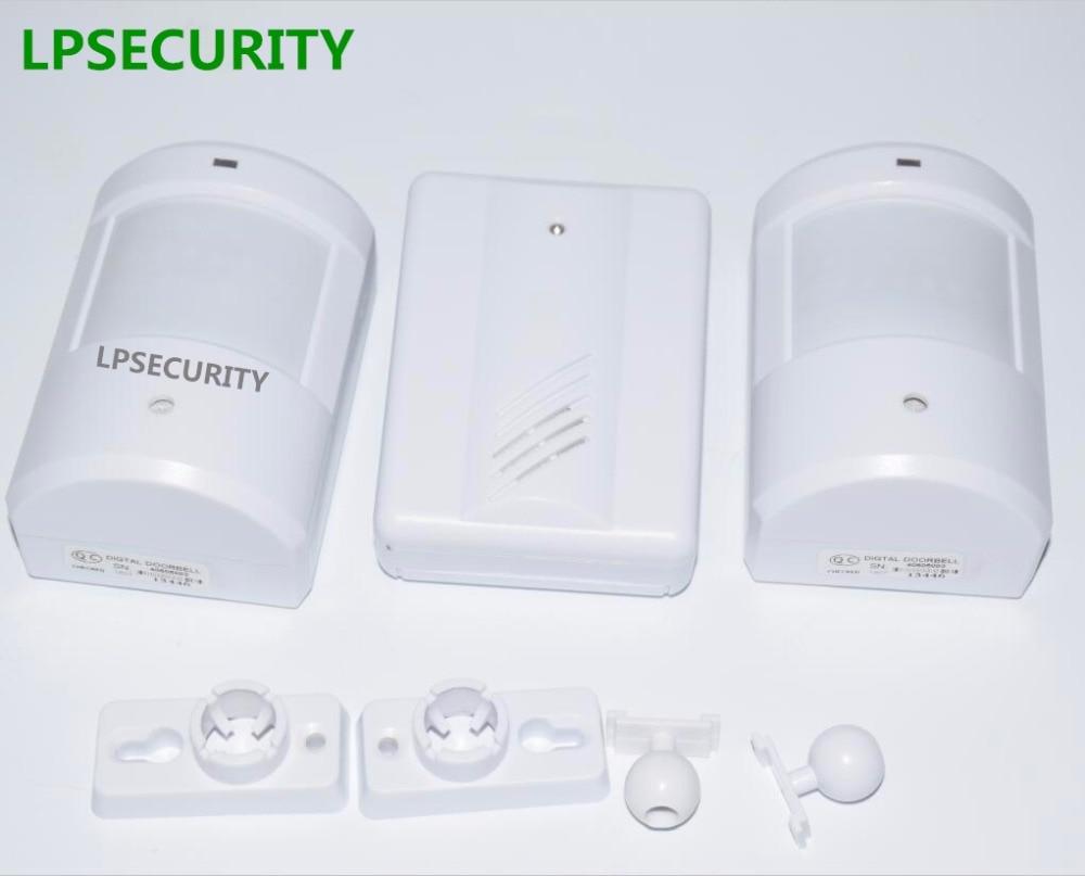 LPSECURITY 2 transmitters 1 receiver PIR Doorbells & Chimes/Wireless PIR Motion Sensor Door Bell Shop Visitor Alert Chime new 2 transmitters