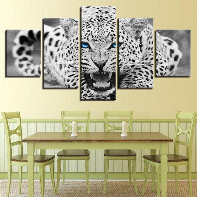 קיר אמנות הדפסי HD בית תפאורה מסגרת 5 pieces כחול עיני נמר ציורי נמר שחור ולבן בעלי החיים פוסטר בד תמונות