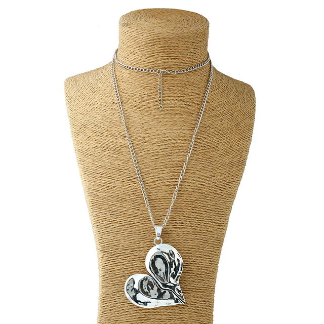 1 Pcs Lagenlook Necklace Antique sliver Tone Statement Abstract Metal Large Heart Pendant Long Curb Leather/Link Chain Necklaces 3