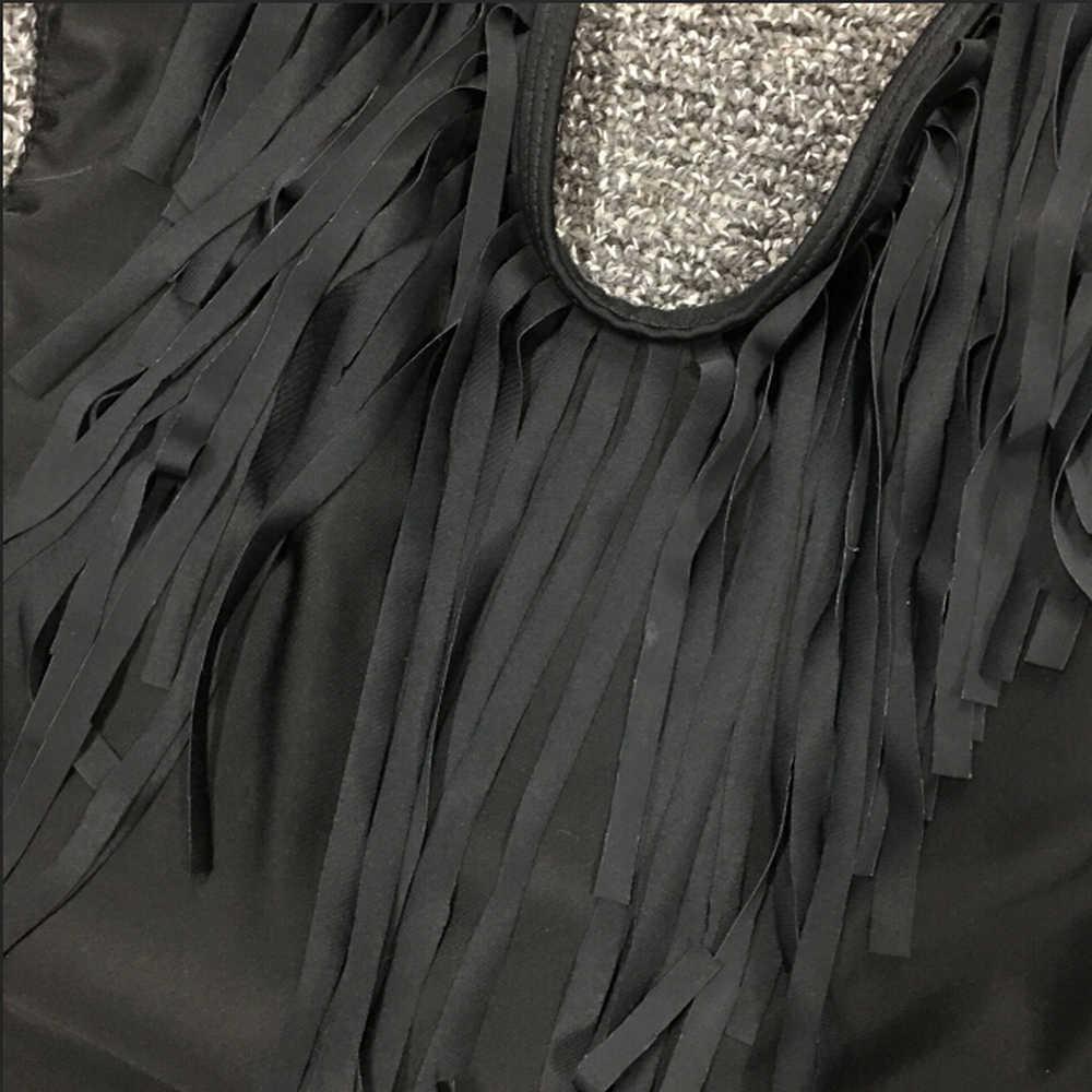 Sovalro воротник хомутиком, без спины бахромой сплошной цвет женский боди глубокий v-образный Вырез Сексуальный Кисточкой Женский Игровой костюм пляжный костюм черный