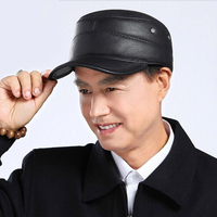 DL 10540 High Quality Classic Men Women Baseball Caps Cowhide Army Peaked Hat Cadet Military Cap