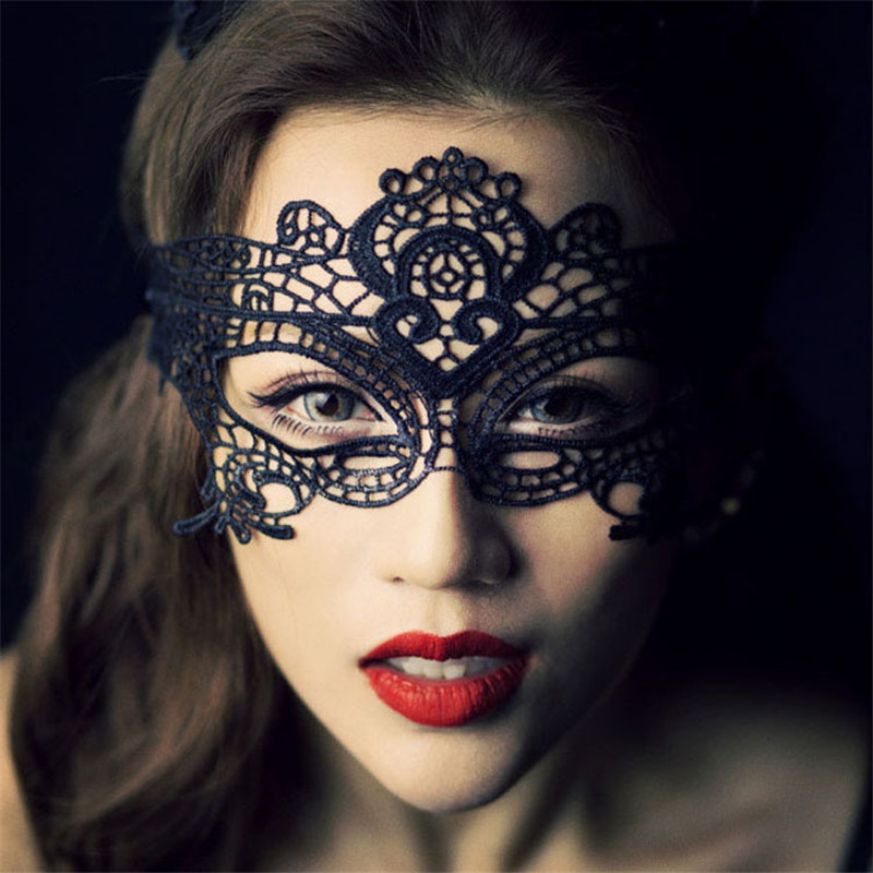 2018 Sexy Babydoll Porn Lingerie Hot Hollow Lace Mask Erotic Costumes Women Sex Product Cosplay Party Masks Black/White/Red
