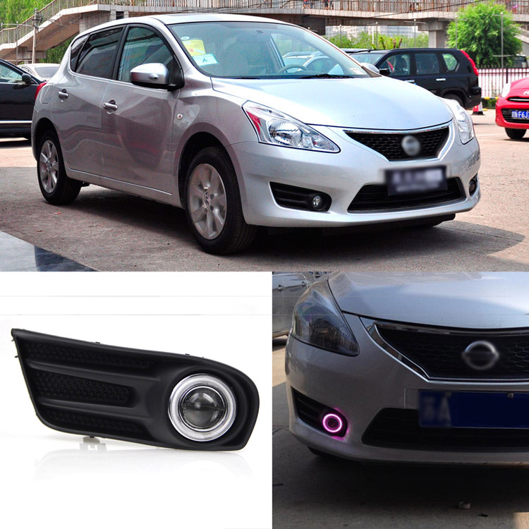 Ownsun Superb 55W Halogen Bulbs COB Fog Lights  Source Angel Eye Bumper Cover For Nissan Tiida 2011-2014 ownsun innovative super cob fog light angel eye bumper cover for skoda fabia scout