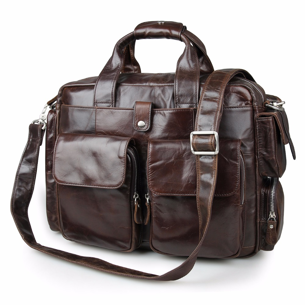 J M D Imported Top Layer Cow Leather Handbag Classic And Formal Laptop Bag Multi Funcational