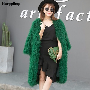 Image 2 - Harppihop  knitted Mongolian sheep fur coat jacket overcoat Russian women winter warm fur coat outwear longer style  4 colors