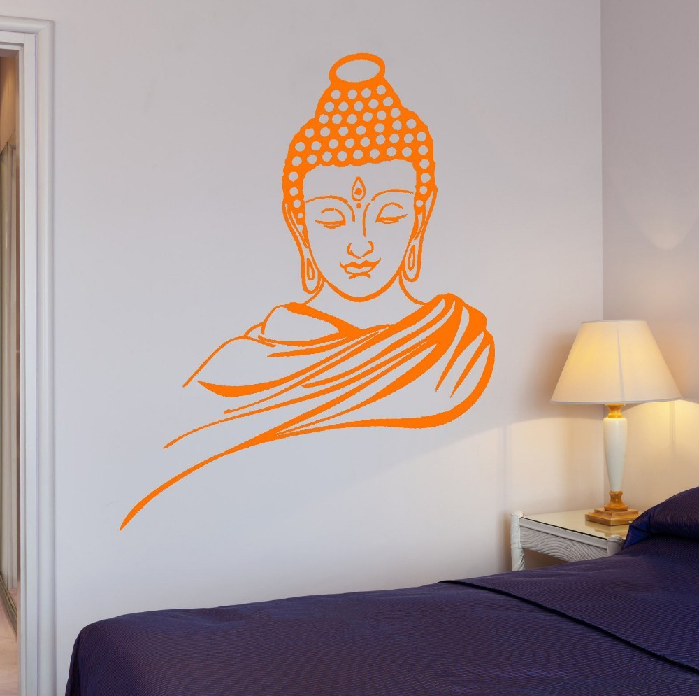 online buy wholesale wall stickers home decor buddha from china free shipping home decor wall sticker religion buddhism buddha meditation wall sticker 3d decal vinyl art