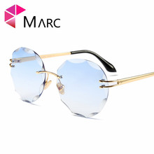 MARC UV400 WOMEN sunglasses MEN Gradient Sol gafas Round shield Clear Metal Rimless eyewear Oculos