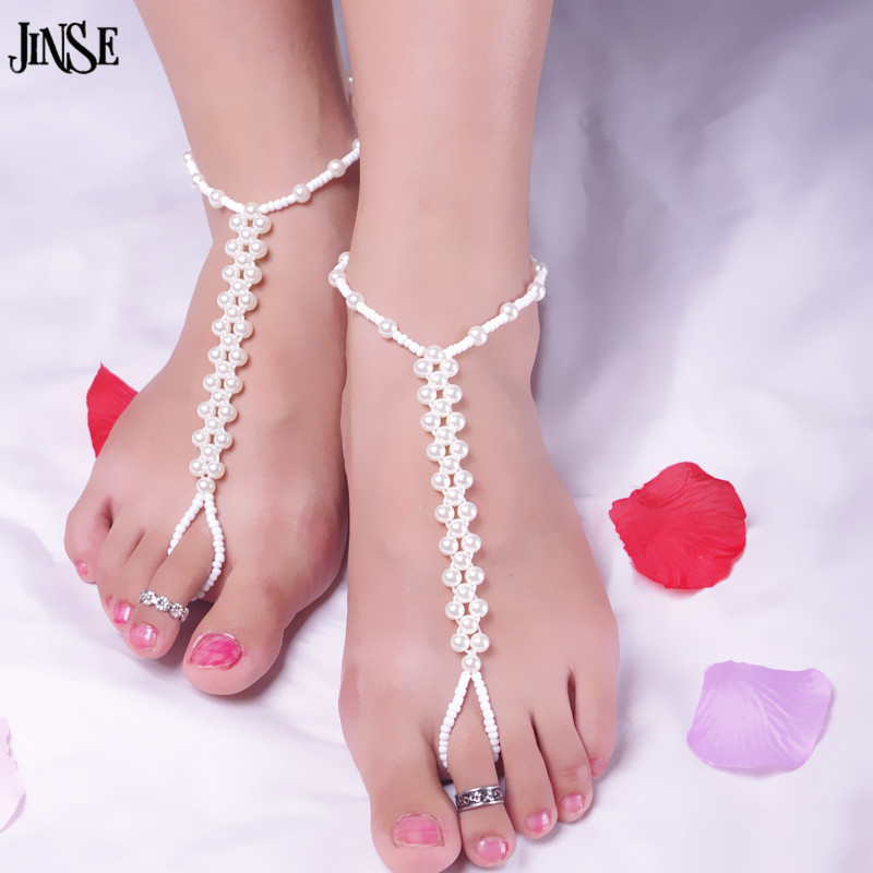 Jinse Barefoot Sandals High Quality Pearl Beads Anklet
