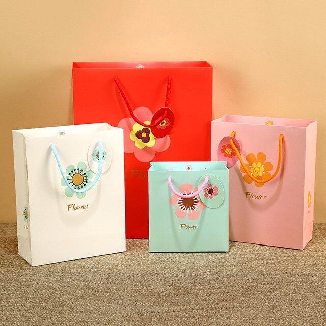 5pcs Lot Baby Full Moon Birthday Gift Bag Paperboard Color Handbag Party Supply Wedding Decoration