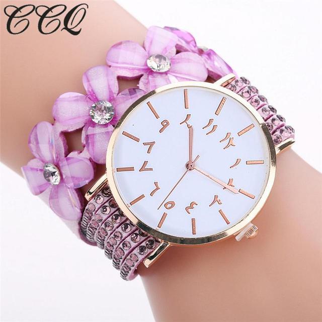 CCQ Beautiful Fashion Bracelet Watch Ladies Watch Round bracelet watch Dress Wom