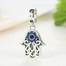 Blue Eye Lucky Fatima Hand Hamsa Eye Pendant Charm Bracelet Silver Jewelry
