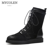 MYCOLEN 2018 New Comfort Black Leather Boots Ankle Boots Luxury Designer Women Shoes Flat Round Toe Motorcycle Boots