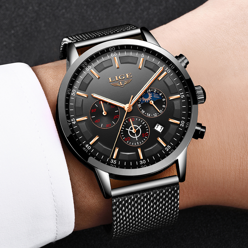 Image 2 - Relogio LIGE Mens Watches Top Brand Luxury Casual Quartz Wristwatch Men Fashion Stainless Steel Waterproof Sport Chronograph+Box-in Quartz Watches from Watches