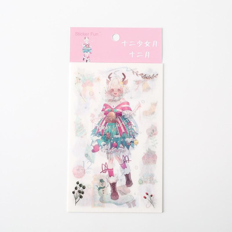 Kawaii Милая наклейка для девочки в стиле декабрина и ветра, декоративная наклейка для ноутбука, декоративная наклейка для рисования, канцелярские товары - Цвет: 12
