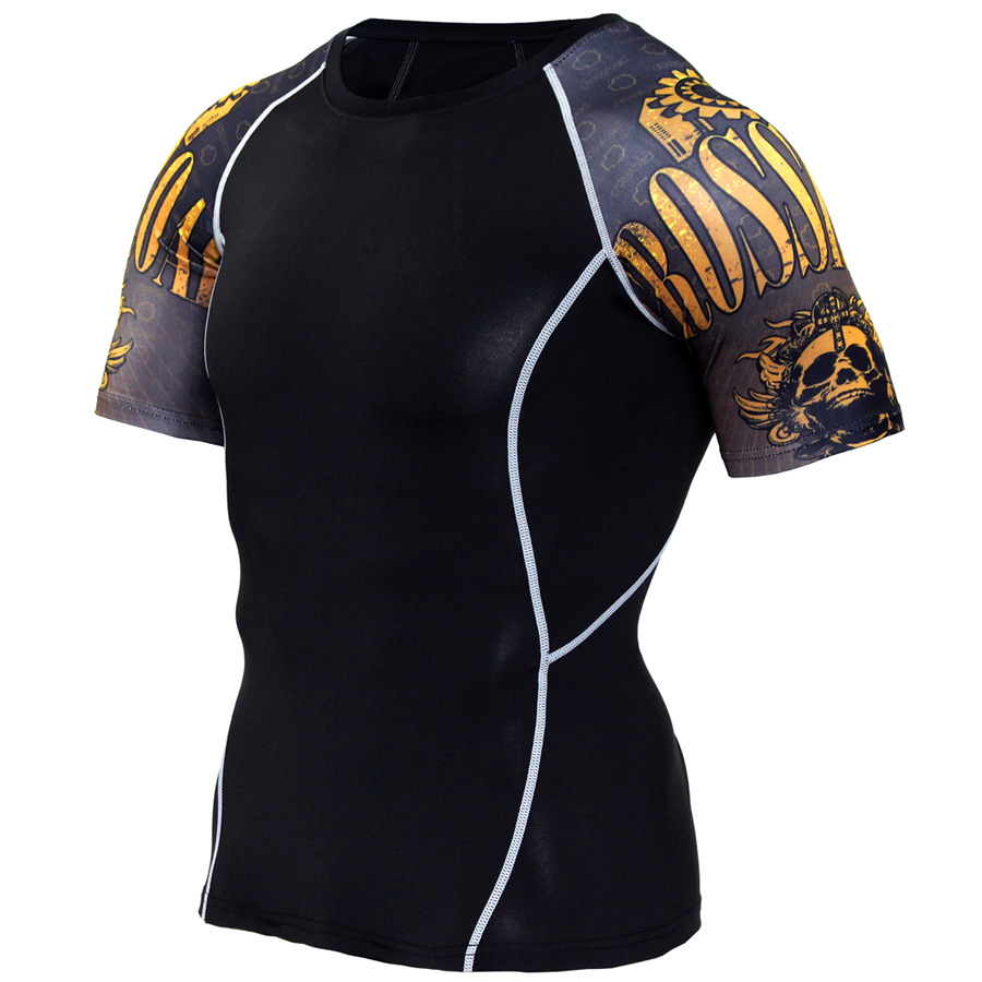 New Compression Shirt Splicing Sleeve Fitness Men Wolf Skull Anime 3D T Shirt MMA Short Sleeve Training Bodybuilding Tee Shirt