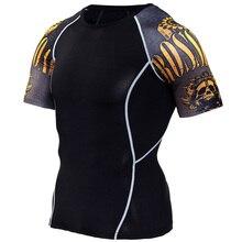 Nueva camisa de compresión manga de empalme fitness hombres lobo cráneo anime 3D camiseta MMA CrossFit bodybuilding camiseta