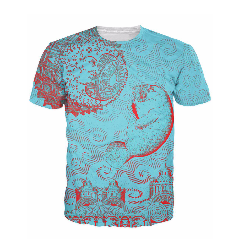 Wholesale retail free shipping moon and manatee t shirt for Printable t shirts wholesale