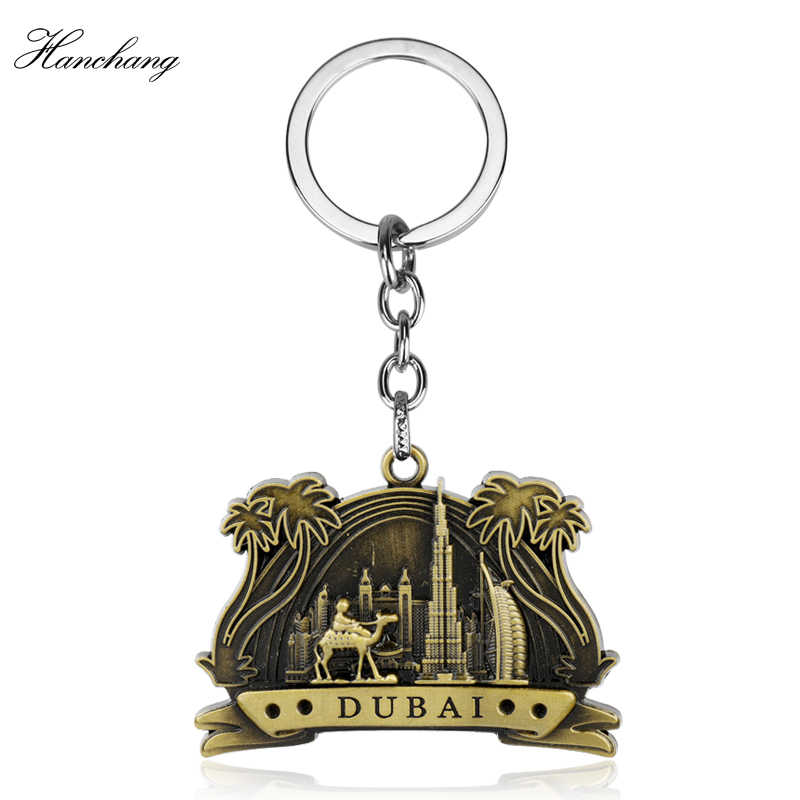 DuBai Tourist Travel Souvenir Keychain Keyring 3D Camel/construction/Tree Keyring Craft Key Chains For Bag Car chaveiro llaveros