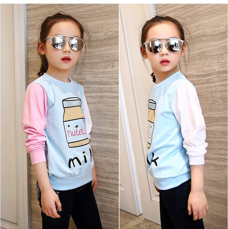 little teenage girls t-shirt character girls tops blue white pink patchwork tees girl tshirt 2016 spring autumn kids clothes  6 7 8 9 10 11 12 13 14 15 16 years old big little teenage girls long sleeve t-shirts children clothing (9)