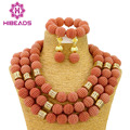 Coral Costume African Jewelry Sets Chunky Nigerian Beads Wedding Jewelry Set Bridal Statement Jewelry Set Free Shipping WB058