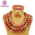 Sistemas de la Joyería de Traje Africana de Coral Chunky Beads Nigerianos Joyería de la Boda Nupcial WB058 Declaración Joyería Conjunto Envío Gratis