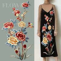 Big Sew On Embroidery Patch Flower Cloth Dress Applique Patches For Clothing Embroidered Parches Bordados Ropa