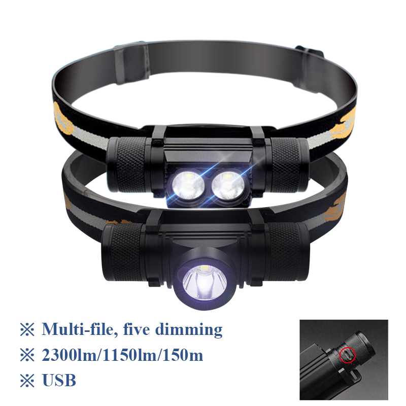 Portable Lighting Mini Led Headlight Cree Xm L2 Lamp Waterproof Flashlight Head Light Use 18650Rechargeable Battery