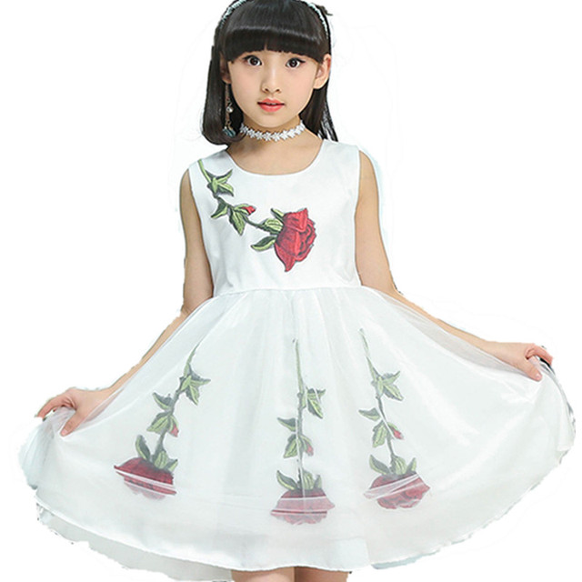 f524e5267b6f Bambini Tulle Abiti Per Le Ragazze Vestito Estivo Senza Maniche Rosa di  Cerimonia Nuziale di Stampa