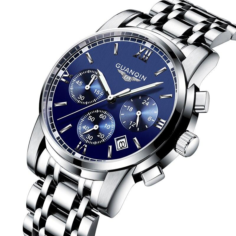 GUANQIN Relogio Masculino hommes montres Top marque de luxe Quartz affaires chronographe montre natation lumineuse montre-bracelet 2019