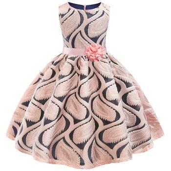 32cd2124ed6 Princesa bebé niñas bordado flor elegante Vestidos de fiesta de boda niños  niñas Vestidos de Navidad vestido Formal niños ropa
