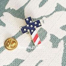 100pcs Customized Enamel Lapel Pins Brooch Christian Cross Pin Badge With USA  Flag American US Patriotic