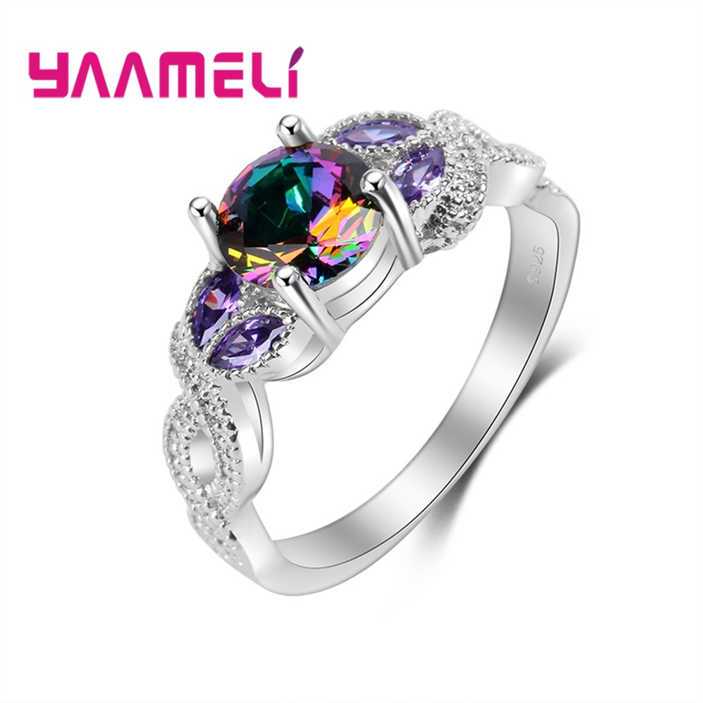 YAAMELI New Vintage S90 Rings Rainbow Bague Women Engagement Decoration Multicolor Top Quality Fashion Ring mariposa en plata anillo