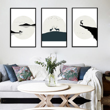 Deer Landscape Nordic Wall Art Canvas Print Pictures Black White Poster Painting for Living Room Decor