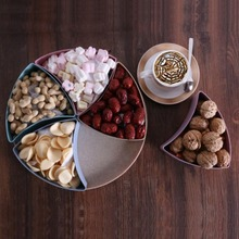 Wheat Straw Snack Plate Candy Box Fruit Tray Creative 4 Grid Compartments with Lid Party Serving