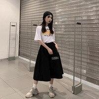 2019 New Arrivals Women Black Skirts A line Pockets Mid calf Empire Waist Skirts Letter Japan Harajuku Style Female Cargo Skitrs