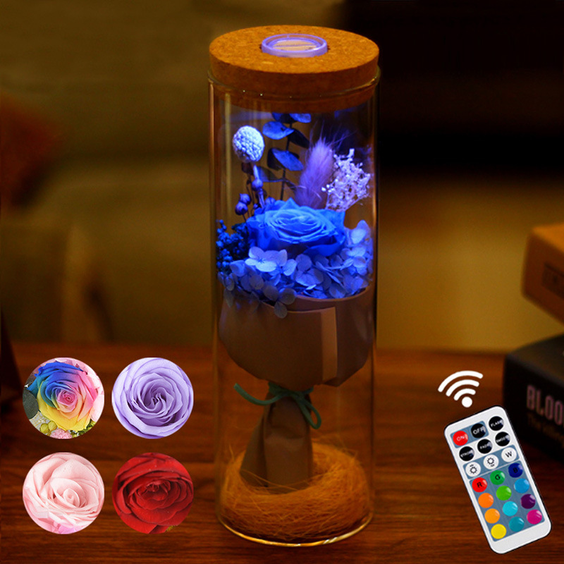 LED RGB Dimmer Lamp Rose Flower Bottle Light with Remote Control Night Light For Birthday Gift Bedside lamp for Decoration Home agm rgb led bulb lamp night light 3w 10w e27 luminaria dimmer 16 colors changeable 24 keys remote for home holiday decoration
