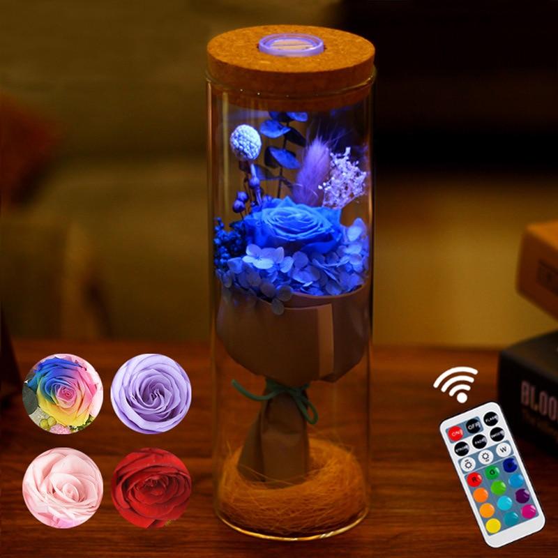 LED RGB Dimmer Lampe Rose Blume Flasche Licht mit Fernbedienung Nacht Licht Für Geburtstag Geschenk Nacht lampe für Dekoration hause