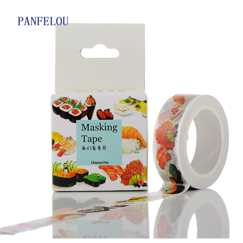PANFELOU 1.5CMx10M The sushi cartoon Stickers border masking adhesive line paper washi tape DIY Scrapbooking Hand account