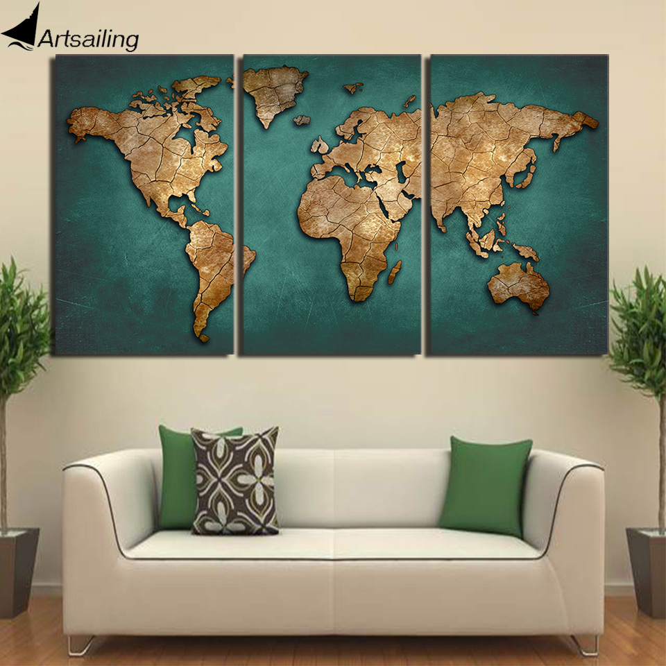 HD Printed 3 Piece Canvas Art World Map Canvas Painting Vintage Continent Wall Pictures For Living Room Free Shipping NY-7022D