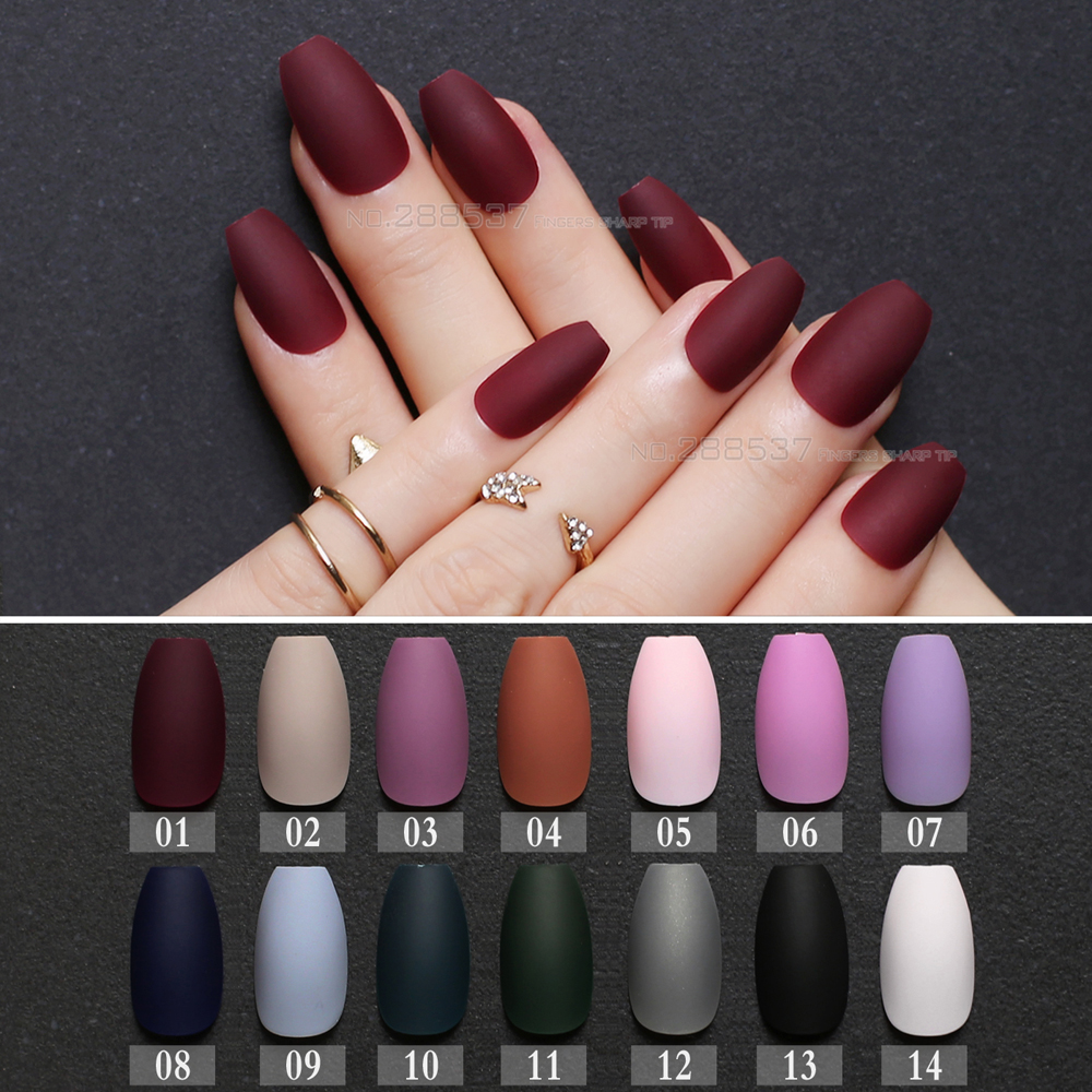 Matte burgundy Coffin False nails Gray Pure Blue Designs Nude 24pcs purple Full Nail Tips Pink Ballerinas red fake nail black 100pc fashion black coffin nail flat top stiletto nails diy nail art full cover false nails diy wholesale manicure products e25b