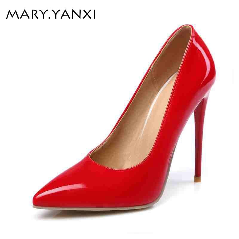 Nyankomna kvinnor skor 10cm höga tunna klackar Korta pumpar Elegant - Damskor