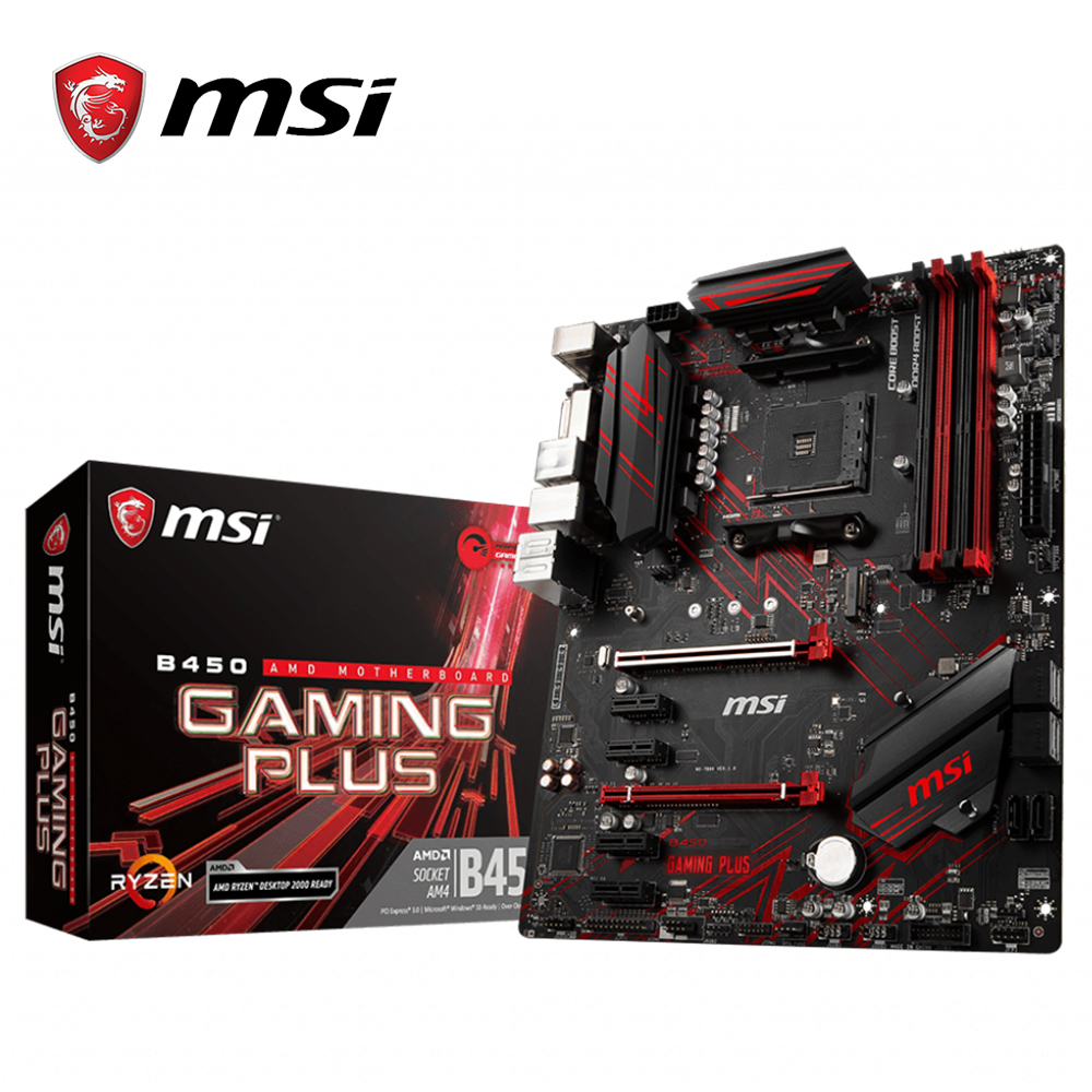 MSI B450 Gaming Plus Motherboard AMD Ryzen Socket AM4 ATX ssd m 2 sata Rams ddr4