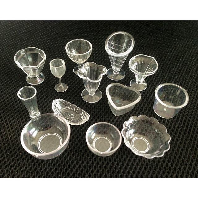 20PCS/LOT MIX Miniature Cups Fake Mini parfait cups glass bowls PVC Simulation Product Model Plastic Artificial Crafts #DIY-MIX5
