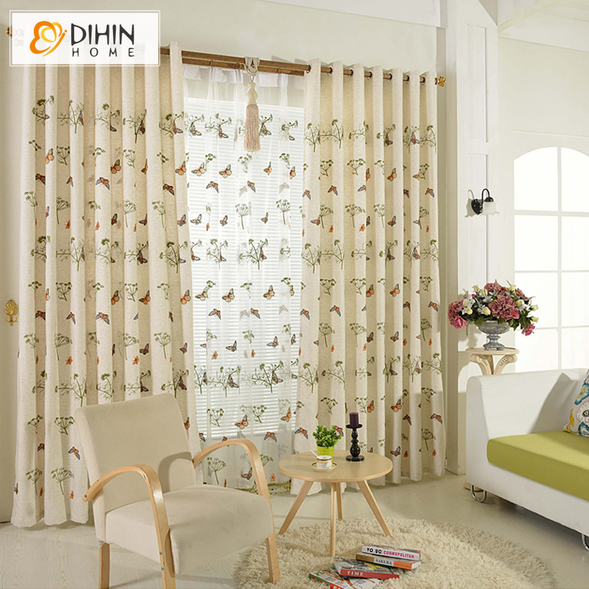 DIHIN Home Linen Cloth Embroidered Pastoral Butterfly Blackout Curtains Living Room Curtain And Drapes Panels